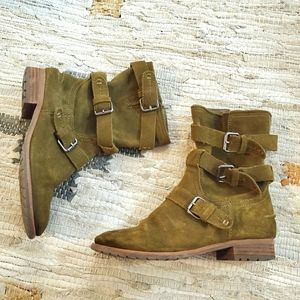 Dolce Vita Green Suede Buckle Moto Boot 6.5